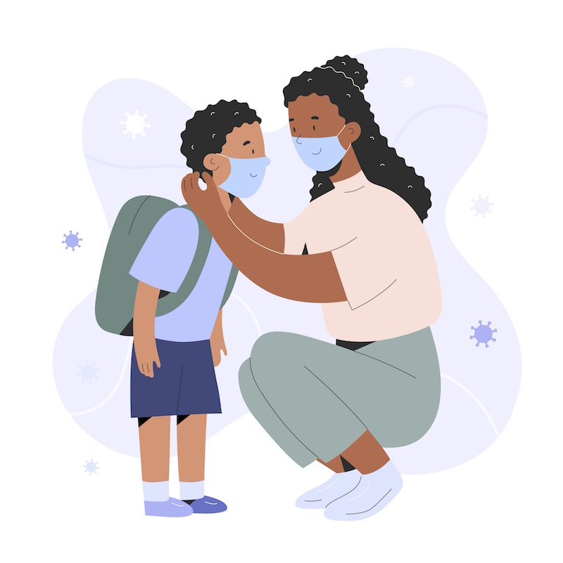 drawing of mother putting mask on child
