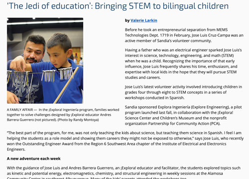 """Featured image for """"'The Jedi of education': Bringing STEM to bilingual children – Sandia Labs"""""""