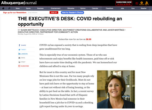 """Featured image for """"COVID-19 Gives Us An Opportunity to Rebuild — Albuquerque Journal"""""""